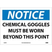 Notice, Chemical Goggles Must Be Worn Beyond This Point, 10X14, Adhesive Vinyl