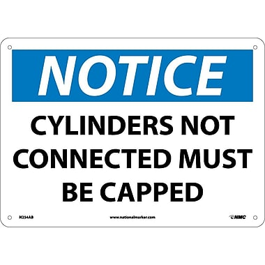 Notice, Cylinders Not Connected Must Be Capped, 10X14, .040 Aluminum