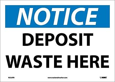 Notice, Deposit Waste Here, 10X14, Adhesive Vinyl