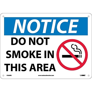 Notice, Do Not Smoke In This Area, Graphic, 10X14, Rigid Plastic