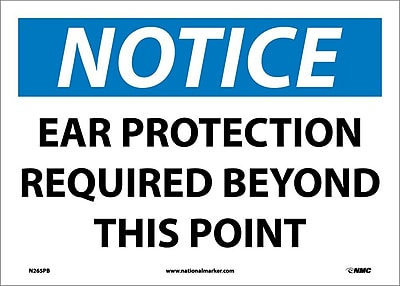 Notice, Ear Protection Required Beyond This Point, 10X14, Adhesive Vinyl