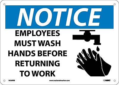 Notice, Employees Must Wash Hands Before Returning To Work, Graphic, 10X14, Rigid Plastic