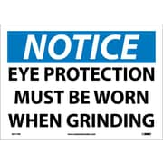 Notice, Eye Protection Must Be Worn When Grinding, 10X14, Adhesive Vinyl