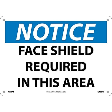 Notice, Face Shield Required In This Area, 10X14, .040 Aluminum