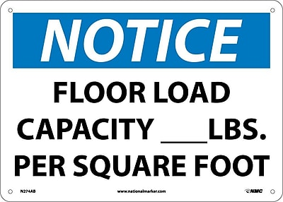 Notice, Floor Load Capacity__Lbs. Per Square Foot, 10X14, .040 Aluminum