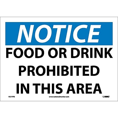 Panneau Notice, Food Or Drink Prohibited In This Area, 10 x 14 po, vinyle adhésif