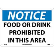 Notice, Food Or Drink Prohibited In This Area, 10X14, Rigid Plastic