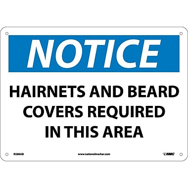 Notice, Hairnets And Beard Covers Required In This Area, 10X14, .040 Aluminum