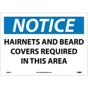 Notice, Hairnets And Beard Covers Required In This Area, 10X14, Adhesive Vinyl