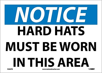 Notice, Hard Hats Must Be Worn In This Area, 10X14, Adhesive Vinyl