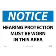 Notice, Hearing Protection Must Be Worn In This Area, 10X14, Adhesive Vinyl