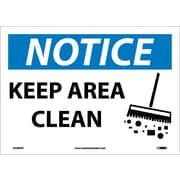 Notice, Keep Area Clean, Graphic, 10X14, Adhesive Vinyl