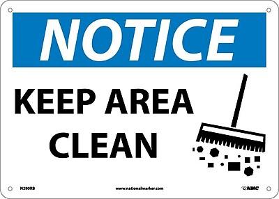 Notice, Keep Area Clean, Graphic, 10X14, Rigid Plastic