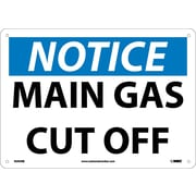 Notice, Main Gas Cut Off, 10X14, Rigid Plastic