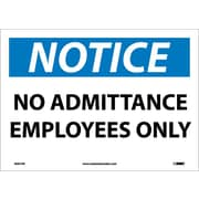 Notice, No Admittance Employees Only, 10X14, Adhesive Vinyl