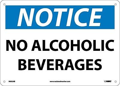 Notice, No Alcoholic Beverages, 10X14, .040 Aluminum