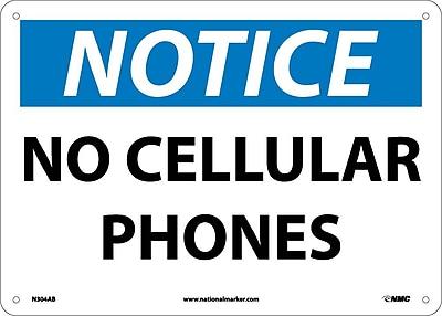 Notice, No Cellular Phones, 10X14, .040 Aluminum