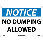 Notice, No Dumping Allowed, 10X14, Rigid Plastic