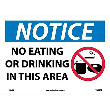 Notice, No Eating Or Drinking In This Area, Graphic, 10X14, Adhesive Vinyl