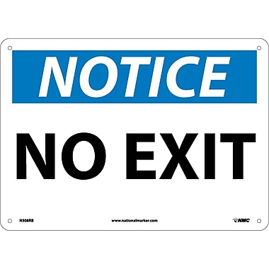 Notice, No Exit, 10X14, Rigid Plastic