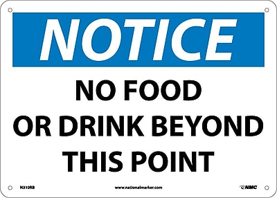 Notice, No Food Or Drink Beyond This Point, 10X14, Rigid Plastic