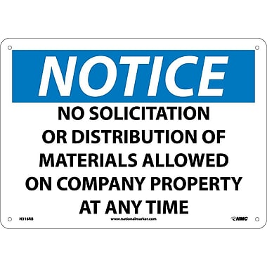 Notice, No Solicitation Or Distribution Of Materials Allowed On Company Property At Any Time, 10X14, Rigid Plastic