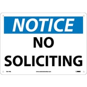 "Notice, No Soliciting, 10"" x 14"", Rigid Plastic"