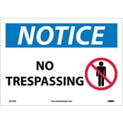 Notice, No Trespassing, Graphic, 10X14, Adhesive Vinyl
