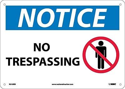 Notice, No Trespassing, Graphic, 10X14, Rigid Plastic