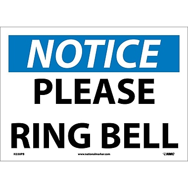 « Notice, Please Ring Bell », 10 x 14 po, vinyle adhésif