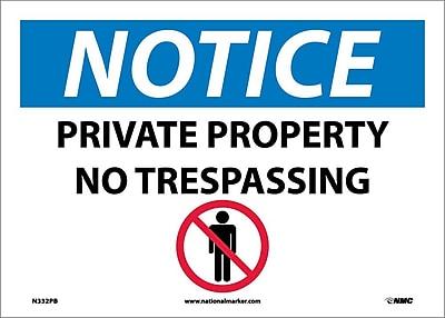 Notice, Private Property No Trespassing, Graphic, 10X14, Adhesive Vinyl