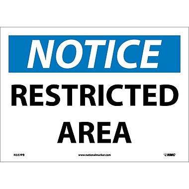 Notice, Restricted Area, 10X14, Adhesive Vinyl