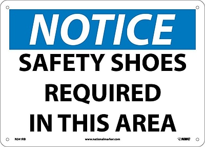 Notice, Safety Shoes Required In This Area, 10X14, Rigid Plastic