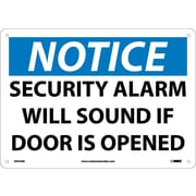 Notice, Security Alarm Will Sound If Door Is Opened, 10X14, .040 Aluminum