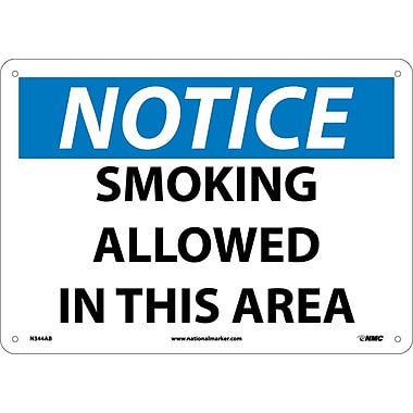 Notice, Smoking Allowed In This Area, 10X14, .040 Aluminum