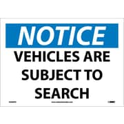 Notice, Vehicles Are Subject To Search, 10X14, Adhesive Vinyl