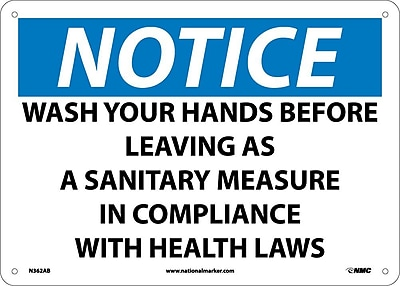 Notice, Wash Your Hands Before Leaving As A Sanitary Measure In Compliance With Health Laws