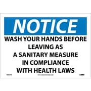 Notice, Wash Your Hands Before Leaving As A Sanitary Measure In Compliance With Health Laws, 10X14, Adhesive Vinyl