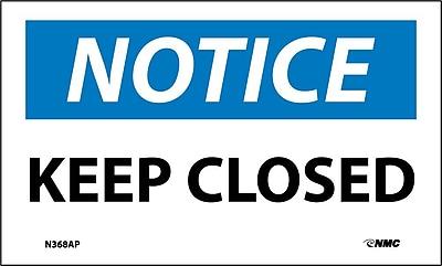 Labels - Notice, Keep Closed, 3X5, Adhesive Vinyl, 5/Pk