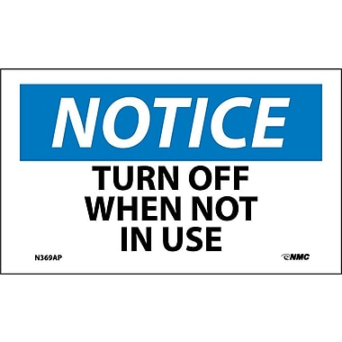Labels Notice, Turn Off When Not In Use, 3