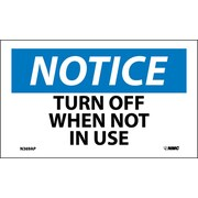 Labels - Notice, Turn Off When Not In Use, 3X5, Adhesive Vinyl, 5/Pk