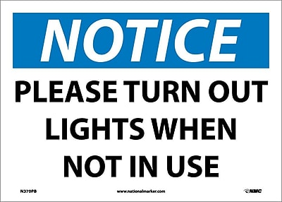 Notice, Please Turn Out Lights When Not In Use, 10X14, Adhesive Vinyl