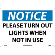Notice, Please Turn Out Lights When Not In Use, 10X14, Rigid Plastic