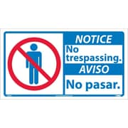 Notice, No Trespassing (Bilingual W/Graphic), 10X18, Adhesive Vinyl