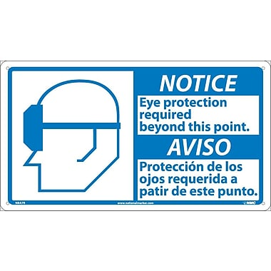 Notice, 10 X 18 Notice Eye Protection Required (Bilingual W/Graphic), 10X18, Rigid Plastic