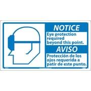 Notice, 10 X 18 Notice Eye Protection Required (Bilingual W/Graphic), 10X18, Rigid Plastic