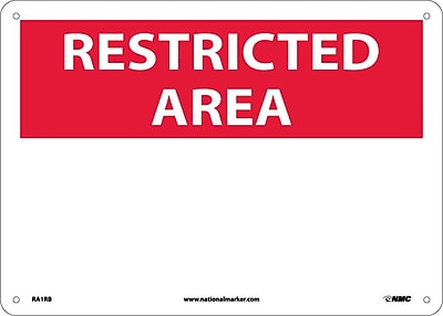 Restricted Area, Blank, 10X14, Rigid Plastic