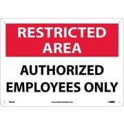 National Marker - Panneau de sécurité Restricted Area, Entrance for Employees Only, 10 x 14 po, aluminium 0,04