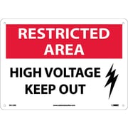 Restricted Area, High Voltage Keep Out, Graphic, 10X14, Rigid Plastic