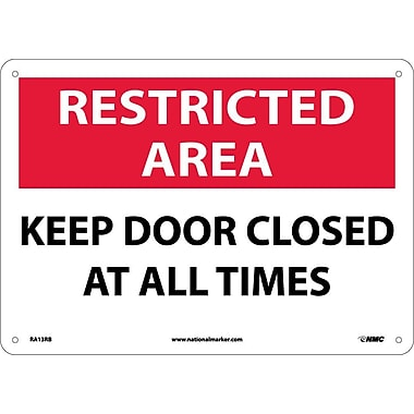 Restricted Area, Keep Door Closed At All Times, 10X14, Rigid Plastic